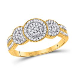 Womens Round Diamond Triple Cluster Ring 1/6 Cttw 10kt Yellow Gold - REF-15X9A