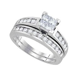 Princess Diamond Bridal Wedding Ring Band Set 1 Cttw 14kt White Gold - REF-88X9A