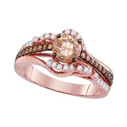 Round Brown Diamond Solitaire Bridal Wedding Engagement Ring 1-1/4 Cttw 14kt Rose Gold - REF-148H9R