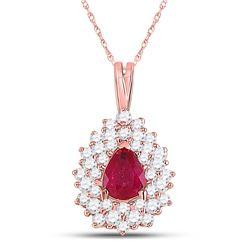 Womens Pear Ruby Diamond Teardrop Pendant 3/4 Cttw 14kt Rose Gold - REF-30X9A