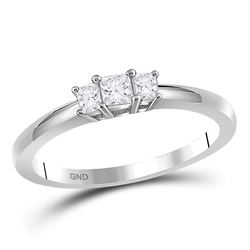 Princess Diamond 3-stone Bridal Wedding Engagement Ring 1/4 Cttw 14kt White Gold - REF-23H5R