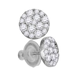 Womens Round Diamond Cluster Earrings 1 Cttw 14kt White Gold - REF-65A5M