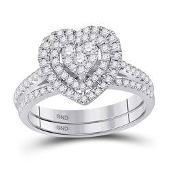 Round Diamond Heart Bridal Wedding Ring Band Set 5/8 Cttw 10kt White Gold - REF-54H5R