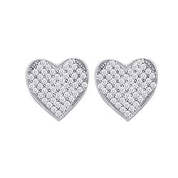 Womens Round Diamond Heart Cluster Earrings 1/10 Cttw 10kt White Gold - REF-8F5W