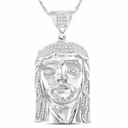 Mens Round Diamond Jesus Face Charm Pendant 1/4 Cttw 10kt White Gold - REF-49H9R