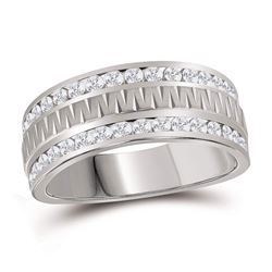 Mens Round Diamond Wedding Double Row Band Ring 1 Cttw 14kt White Gold - REF-98Y5N