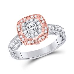 Round Diamond Halo Bridal Wedding Engagement Ring 3/4 Cttw 14kt Two-tone Gold - REF-73X9A