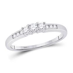Round Diamond 3-stone Bridal Wedding Engagement Ring 1/4 Cttw 14kt White Gold - REF-23F5W