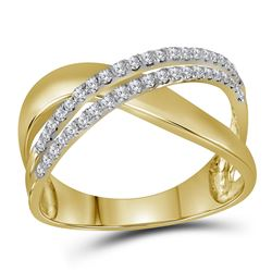 Womens Round Diamond Crossover Band Ring 3/8 Cttw 10kt Yellow Gold - REF-26N9F