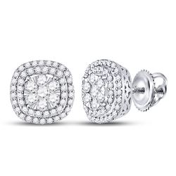 Womens Round Diamond Cluster Cushion Earrings 1 Cttw 14kt White Gold - REF-74W9K