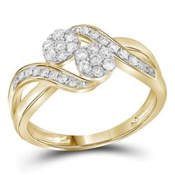 Round Diamond 2-stone Bridal Wedding Engagement Ring 1/2 Cttw 14kt Yellow Gold - REF-39R5X