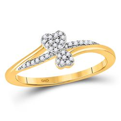 Womens Round Diamond Heart Ring 1/12 Cttw 10kt Yellow Gold - REF-9F5W