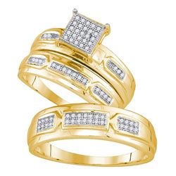 His Hers Round Diamond Cluster Matching Wedding Set 1/5 Cttw 10kt Yellow Gold - REF-37A5M