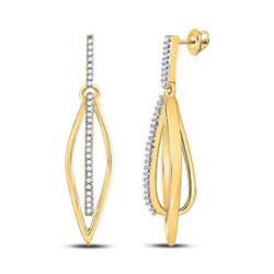 Womens Round Diamond Oblong Oval Stick Dangle Earrings 1/6 Cttw 10kt Yellow Gold - REF-20F5W