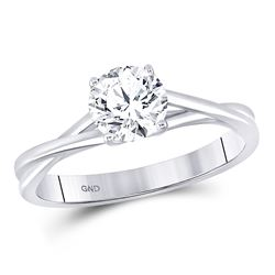Womens Round Diamond Solitaire Bridal Wedding Engagement Ring 3/4 Cttw 14kt White Gold - REF-192F9W