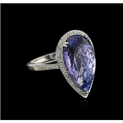 14KT White Gold 14.51 ctw Tanzanite and Diamond Ring