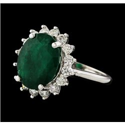5.55 ctw Emerald and Diamond Ring - 14KT White Gold
