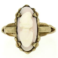 10k Yellow Gold Simple Petite Carved Pink Stone Cameo Ring