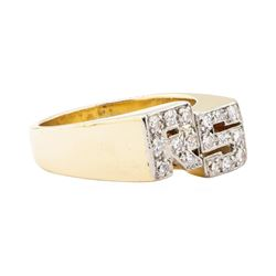 "0.50 ctw Diamond ""RS"" Initial Men's Ring - 14KT Yellow Gold"