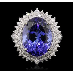 14KT White Gold 11.01 ctw GIA Certified Tanzanite and Diamond Ring