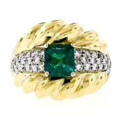 Vintage 18kt Gold 2.29 ctw GIA Certified Colombian Emerald and Diamond Cocktail