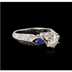 18KT White Gold 1.30 ctw Sapphire and Diamond Ring