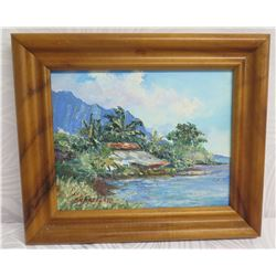 Framed Original Painting 'Kahaluu Kulena Cottage' 7/03 Signed B.H. Freeland 11  x 13