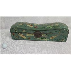 "Vintage Koi Fish Jewelry Box w/ Metal Clasp & Removable Tray 20"" Long"