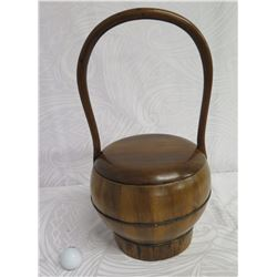 "Round Wooden Basket w/ Lid & Handle 10"" Dia, 17"" High"