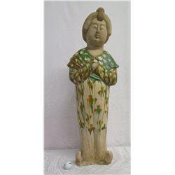"Tall Asian Woman Statue w/ Maker's Mark 9""x34"" High"