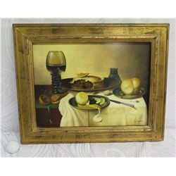 "Framed Still Life, Supper, Artist Robert Casper, Signed, 20""x16"" w/ Authentication 6020253"