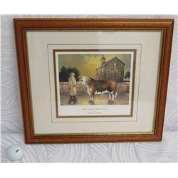 "Framed & Matted Man w/ Prize Bull by Brian Gordon England 16""x14"""