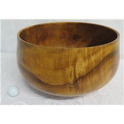 "Large Curly Koa Wood Round Calabash Bowl by R.W. Butts 16"" Diameter x 9"" High"