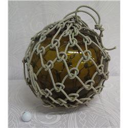 "Vintage Glass Japanese Fishing Float w/ Rope Net 14"" Diameter"