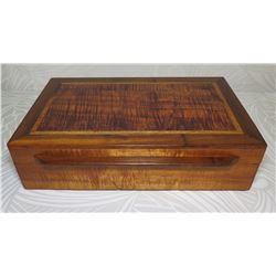 "Rectangle Koa Wood Box w/ Attached Lid & Fabric Lining 15"" x 9"" x 5"" High"