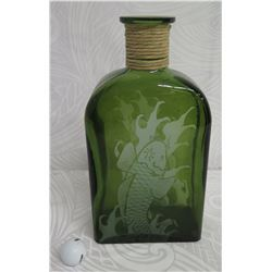 """Large Green Glass Etched Bottle w/ Fish Design & Rope Neck 15"""" High"""