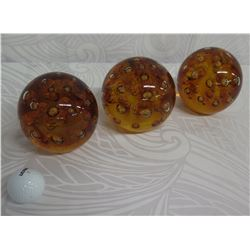 "Qty 3 Decorative Brown Glass Balls Approx. 5"" Dia."