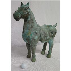"Metal Saddled Horse w/ Intricate Carving 14""x18.5"" High"
