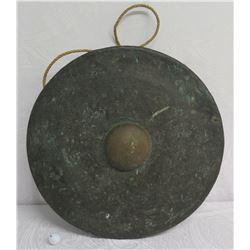 "Vintage Metal Gong 26"" Diameter w/ Maker's Mark & Hanging Rope"