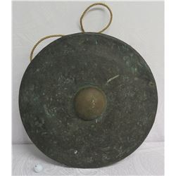 "Very Large Metal Gong w/ Maker's Mark & Hanging Rope 26"" Dia."