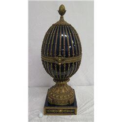 "Large Faberge-Style Cobalt Blue Enameled Egg Box,  12"" Dia, 38"" Tall"