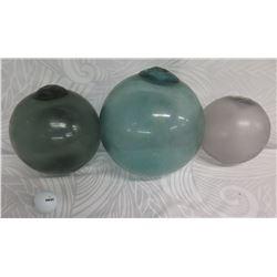 "Qty 3 Vintage Glass Japanese Fishing Float 10""/ 9"" /7"" Diameter"