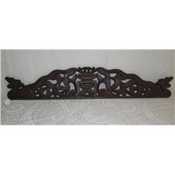 """Large Carved Wooden Mantle Piece w/ Crown & Serpent Ends 40"""" Long"""