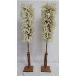 "Qty 2 Hawaiian Feather Kahili on Stands, 45"" Tall"