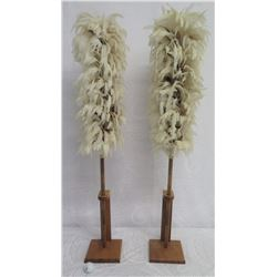 "Qty 2 Hawaiian Feather Kahili on Stands, 45"" Tall"