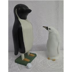 "Qty 2 Penguins 12"" White (Ceramic) 185/200 Italy & 19"" Black & White (Wooden)"
