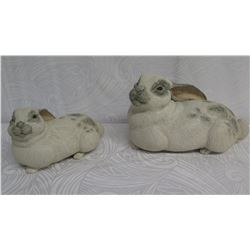 """Qty 2 Stoneware 'Some Bunnies' by Rochelle Lum Approx. 10"""" Long (Purchased for $500/pair)"""