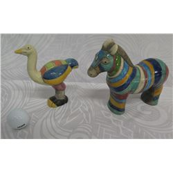 "Qty 2 Small Glazed Clay/Ceramic Horse & Bird, Handmade in S. Africa 7"" Tall"