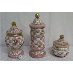 """Qty 3 Makenzie Childs 1983 Aurora NY Rose Petal Lidded Containers 8""""-16"""" Tall"""