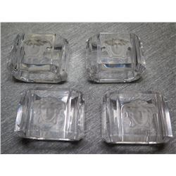 """Qty 4 Square Glass Versace Rosenthal Medusa Lumiere Crystal Ashtray 2.5"""" Long"""
